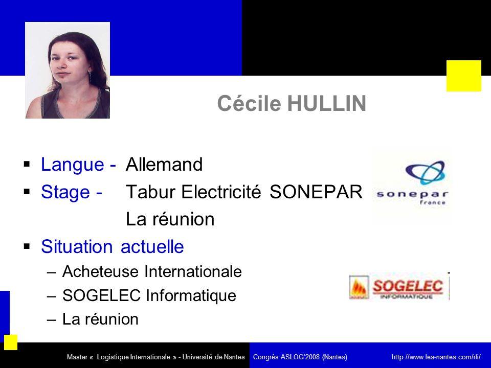 Cécile HULLIN Langue - Allemand Stage - Tabur Electricité SONEPAR La réunion Situation actuelle –Acheteuse Internationale –SOGELEC Informatique –La ré