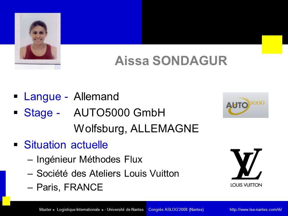 Aissa SONDAGUR Langue - Allemand Stage - AUTO5000 GmbH Wolfsburg, ALLEMAGNE Situation actuelle –Ingénieur Méthodes Flux –Société des Ateliers Louis Vu