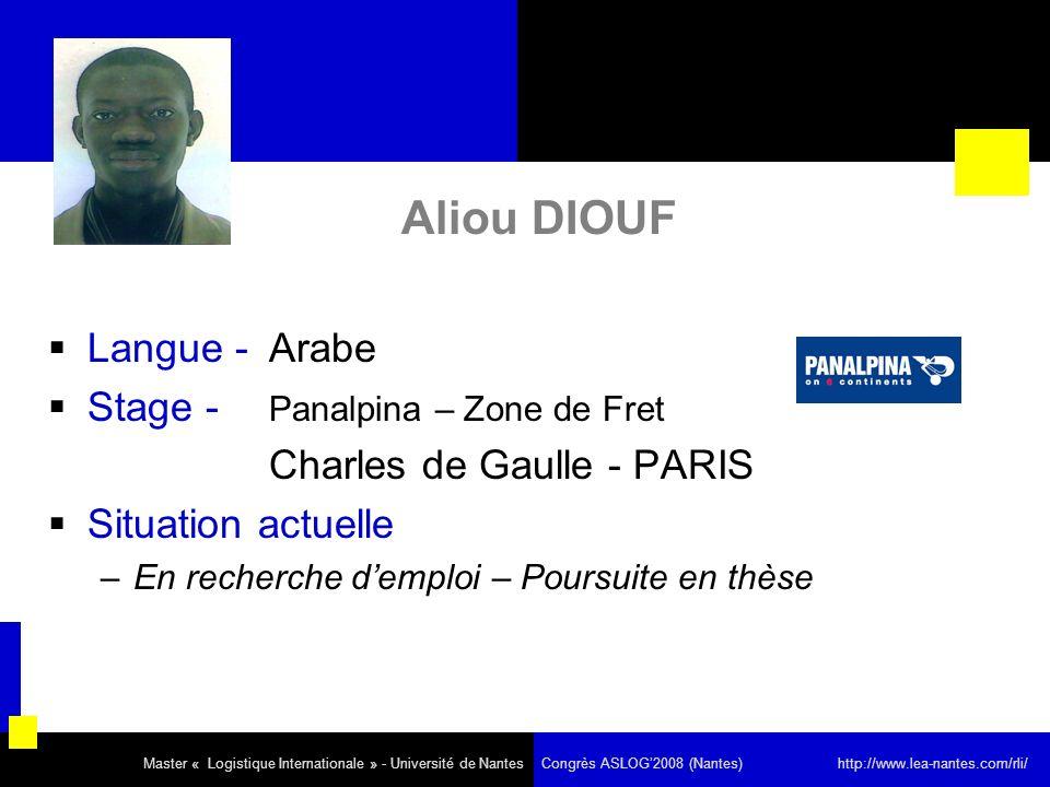 Aliou DIOUF Langue - Arabe Stage - Panalpina – Zone de Fret Charles de Gaulle - PARIS Situation actuelle –En recherche demploi – Poursuite en thèse Ma