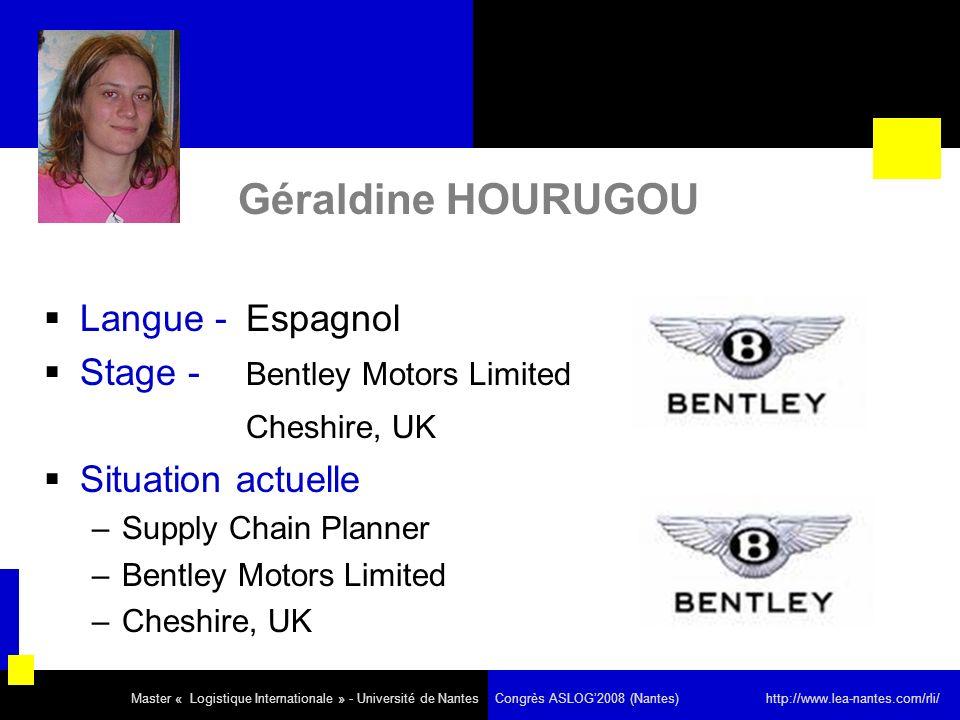 Géraldine HOURUGOU Langue - Espagnol Stage - Bentley Motors Limited Cheshire, UK Situation actuelle –Supply Chain Planner –Bentley Motors Limited –Cheshire, UK Master « Logistique Internationale » - Université de Nantes Congrès ASLOG2008 (Nantes) http://www.lea-nantes.com/rli/