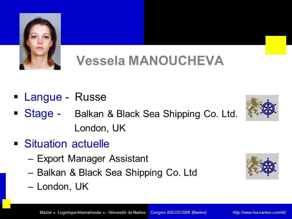 Vessela MANOUCHEVA Langue - Russe Stage - Balkan & Black Sea Shipping Co.