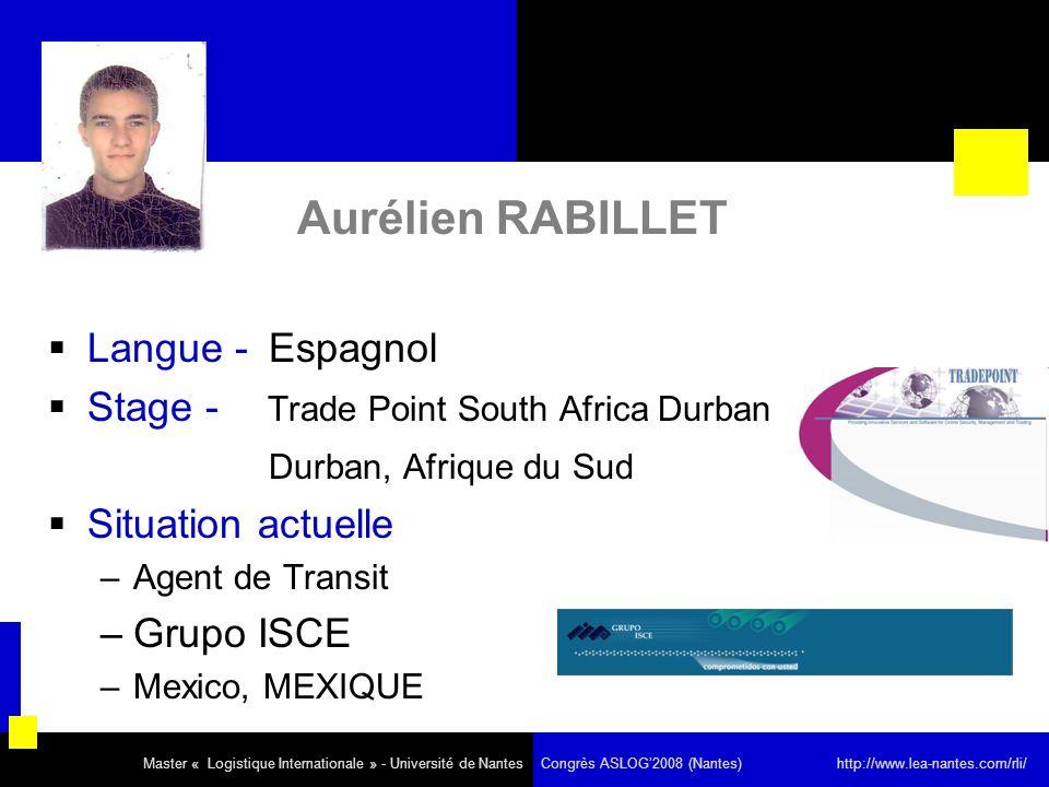 Aurélien RABILLET Langue - Espagnol Stage - Trade Point South Africa Durban Durban, Afrique du Sud Situation actuelle –Agent de Transit –Grupo ISCE –Mexico, MEXIQUE Master « Logistique Internationale » - Université de Nantes Congrès ASLOG2008 (Nantes) http://www.lea-nantes.com/rli/