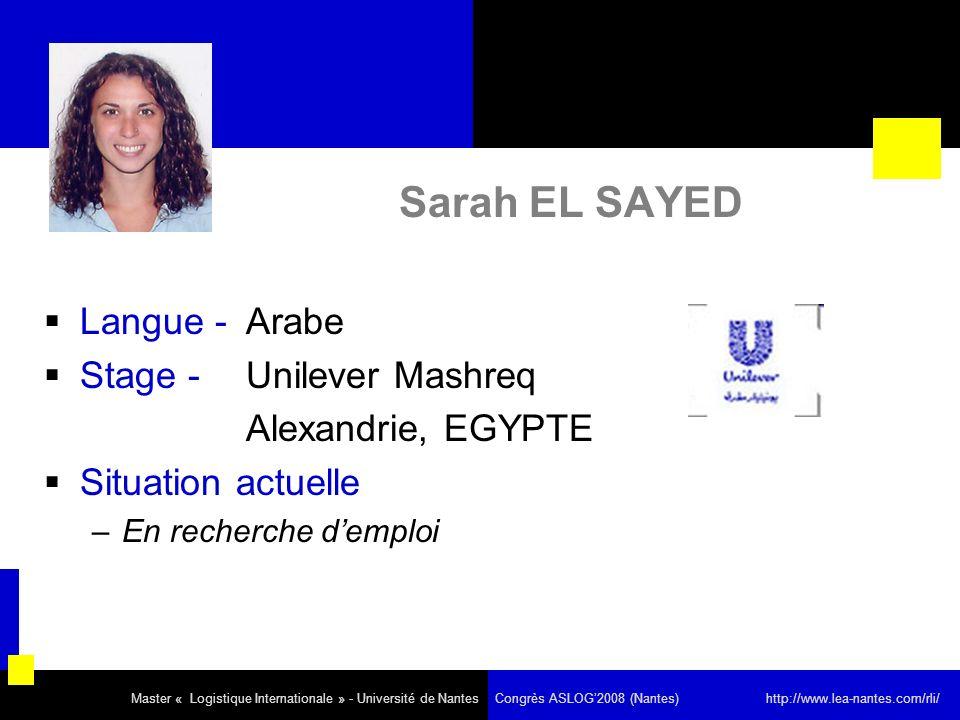 Sarah EL SAYED Langue - Arabe Stage - Unilever Mashreq Alexandrie, EGYPTE Situation actuelle –En recherche demploi Master « Logistique Internationale » - Université de Nantes Congrès ASLOG2008 (Nantes) http://www.lea-nantes.com/rli/