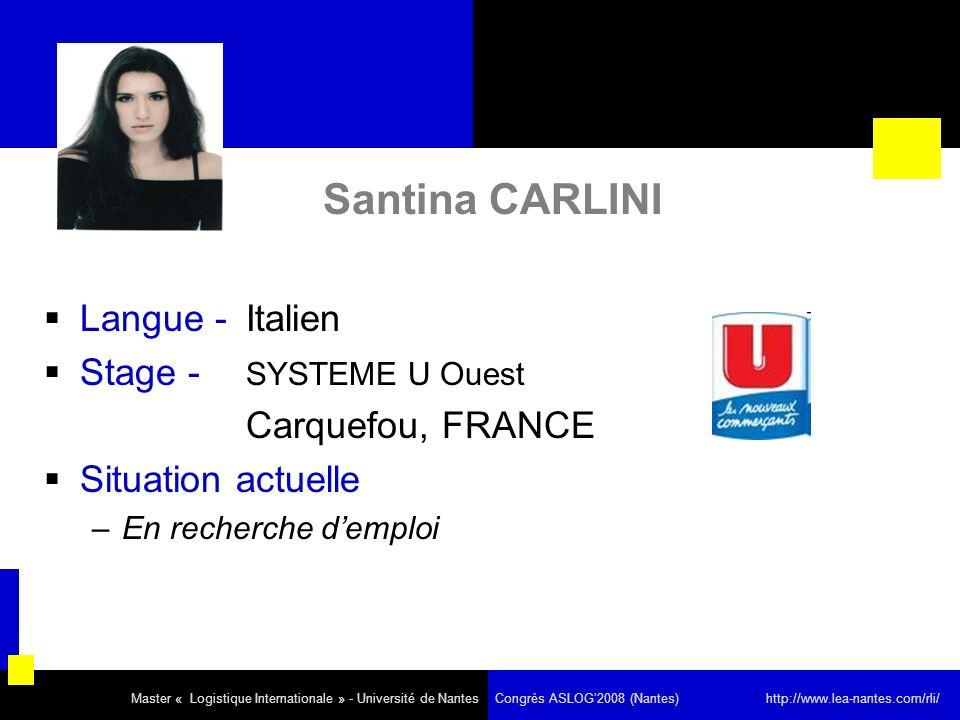 Santina CARLINI Langue - Italien Stage - SYSTEME U Ouest Carquefou, FRANCE Situation actuelle –En recherche demploi Master « Logistique Internationale