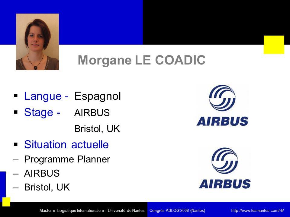 Morgane LE COADIC Langue - Espagnol Stage - AIRBUS Bristol, UK Situation actuelle –Programme Planner –AIRBUS –Bristol, UK Master « Logistique Internat