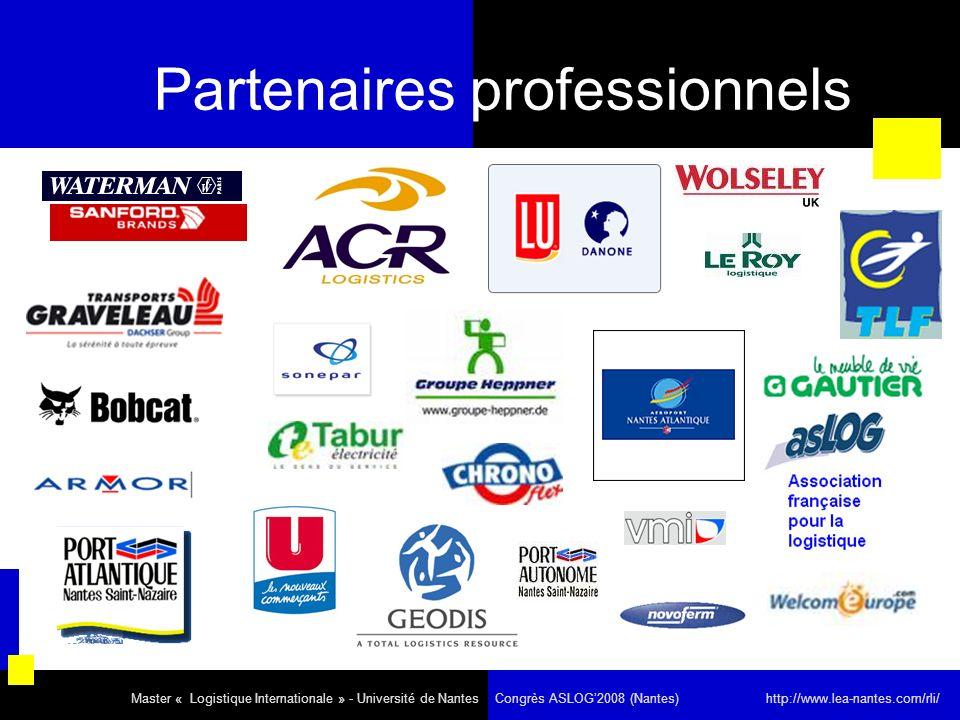 Partenaires professionnels Master « Logistique Internationale » - Université de Nantes Congrès ASLOG2008 (Nantes) http://www.lea-nantes.com/rli/