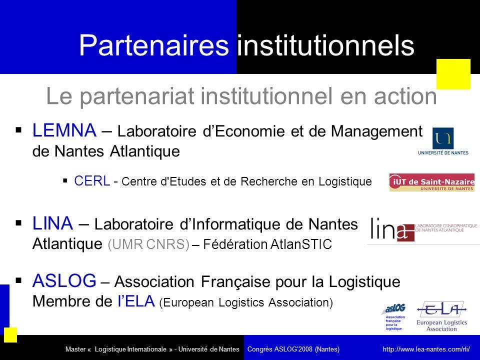 Partenaires institutionnels LEMNA – Laboratoire dEconomie et de Management de Nantes Atlantique CERL - Centre d'Etudes et de Recherche en Logistique L