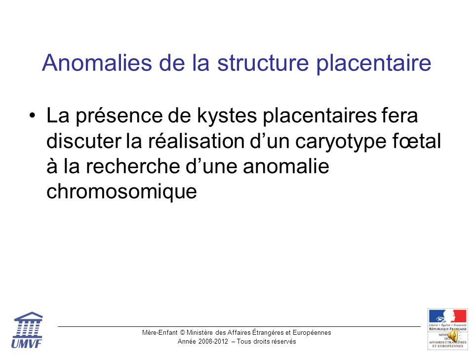 Mère-Enfant © Ministère des Affaires Étrangères et Européennes Année 2008-2012 – Tous droits réservés Placenta partiellement molaire et spina bifida Placenta molaire Placenta normal