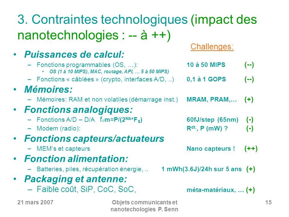21 mars 2007Objets communicants et nanotechologies P. Senn 15 3. Contraintes technologiques (impact des nanotechnologies : -- à ++) Puissances de calc
