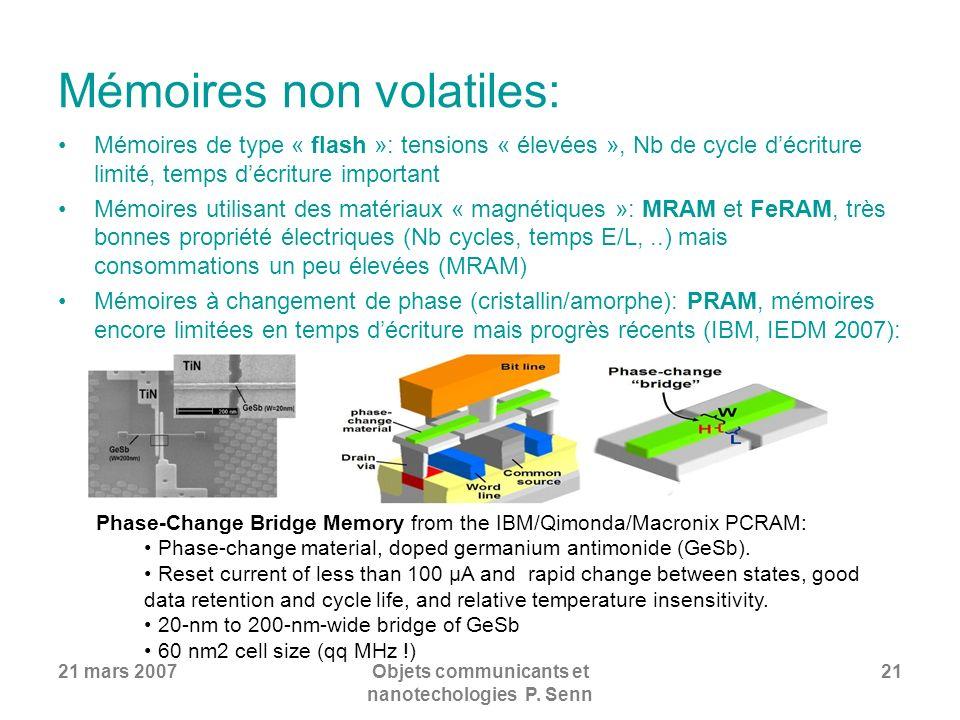 21 mars 2007Objets communicants et nanotechologies P. Senn 21 Mémoires non volatiles: Mémoires de type « flash »: tensions « élevées », Nb de cycle dé