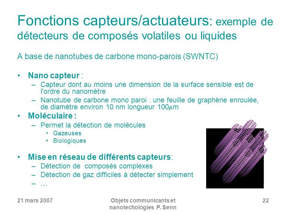 21 mars 2007Objets communicants et nanotechologies P. Senn 22 Fonctions capteurs/actuateurs : exemple de détecteurs de composés volatiles ou liquides