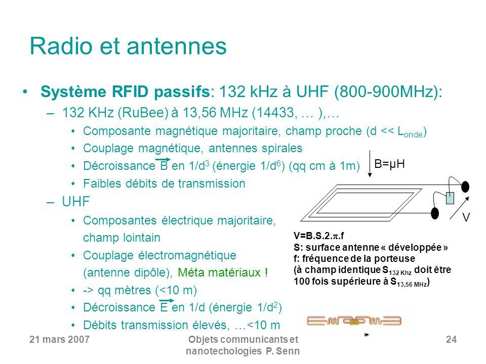 21 mars 2007Objets communicants et nanotechologies P. Senn 24 Radio et antennes Système RFID passifs: 132 kHz à UHF (800-900MHz): –132 KHz (RuBee) à 1