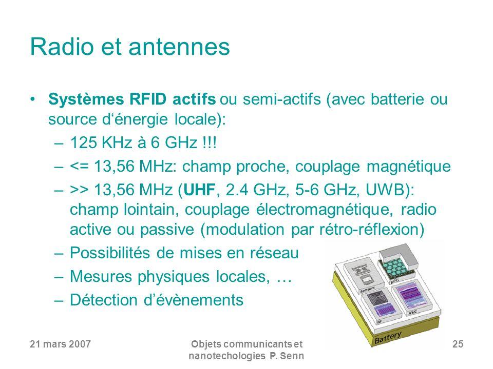 21 mars 2007Objets communicants et nanotechologies P. Senn 25 Radio et antennes Systèmes RFID actifs ou semi-actifs (avec batterie ou source dénergie