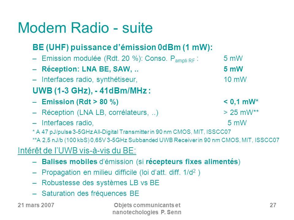 21 mars 2007Objets communicants et nanotechologies P. Senn 27 Modem Radio - suite BE (UHF) puissance démission 0dBm (1 mW): –Emission modulée (Rdt. 20