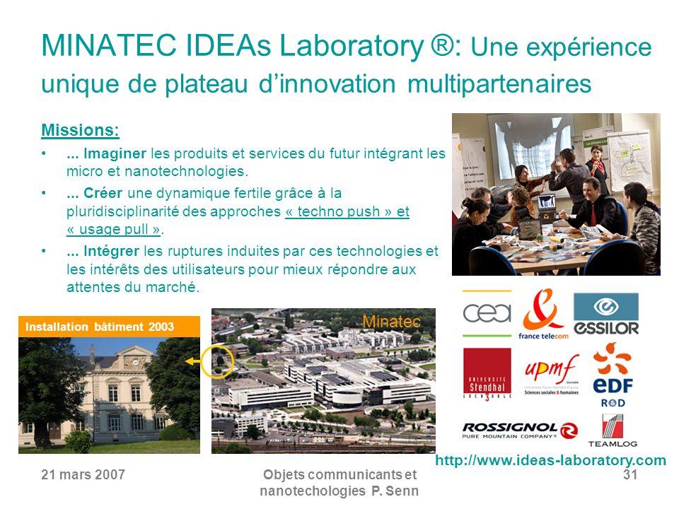 21 mars 2007Objets communicants et nanotechologies P. Senn 31 MINATEC IDEAs Laboratory ®: Une expérience unique de plateau dinnovation multipartenaire