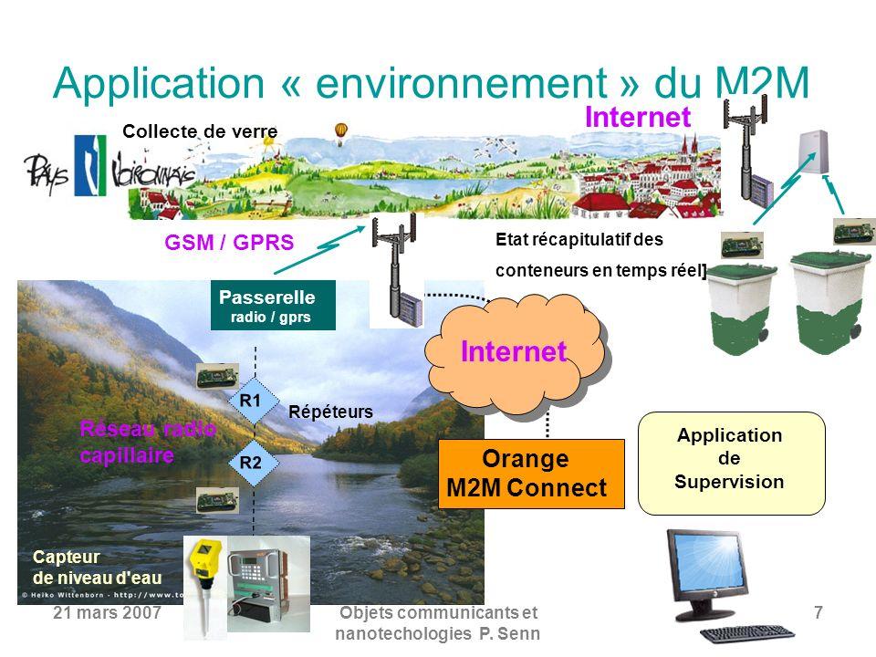 21 mars 2007Objets communicants et nanotechologies P. Senn 7 Application « environnement » du M2M Etat récapitulatif des conteneurs en temps réel] Col