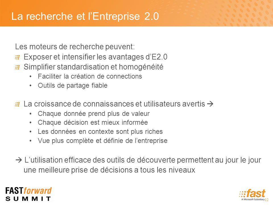 La recherche et lEntreprise 2.0 Les moteurs de recherche peuvent: Exposer et intensifier les avantages dE2.0 Simplifier standardisation et homogénéité