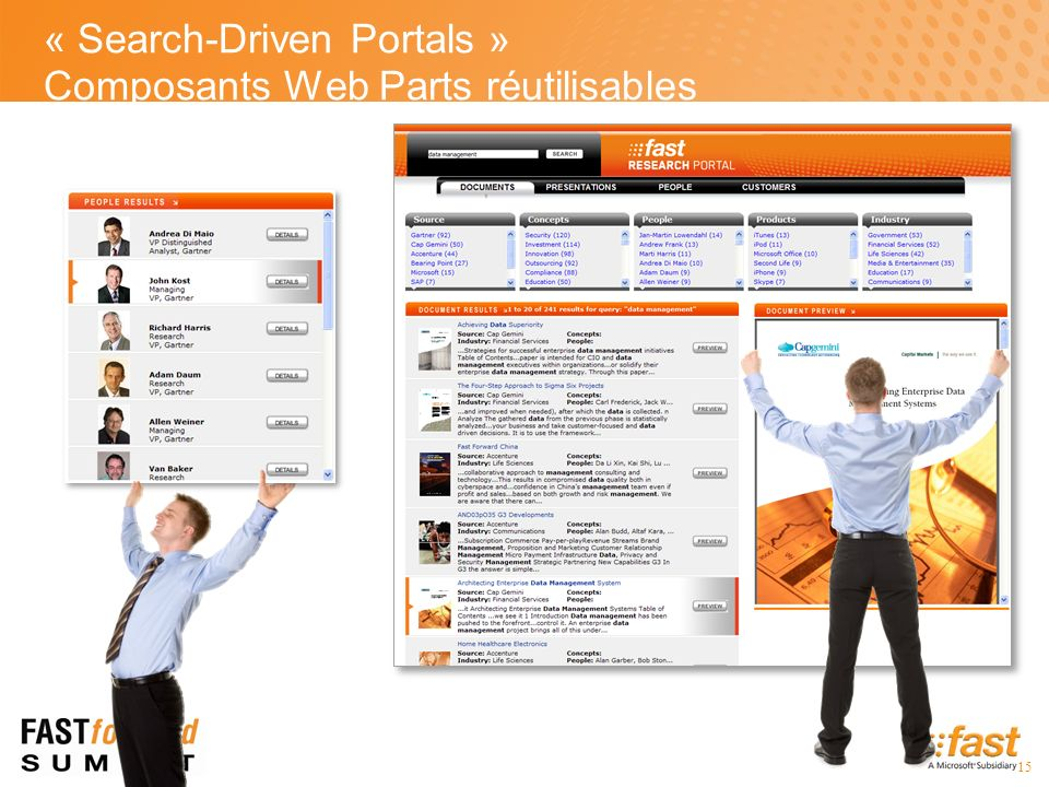 15 « Search-Driven Portals » Composants Web Parts réutilisables