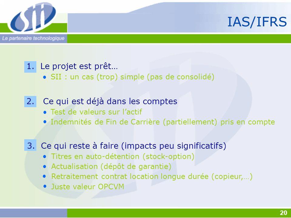 IAS/IFRS 1. Le projet est prêt… SII : un cas (trop) simple (pas de consolidé) 2. Ce qui est déjà dans les comptes Test de valeurs sur lactif Indemnité