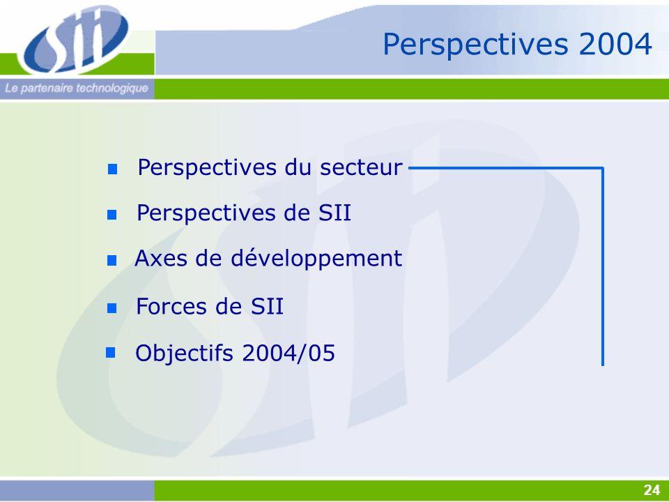 Perspectives 2004 Axes de développement Forces de SII Objectifs 2004/05 Perspectives de SII Perspectives du secteur 24