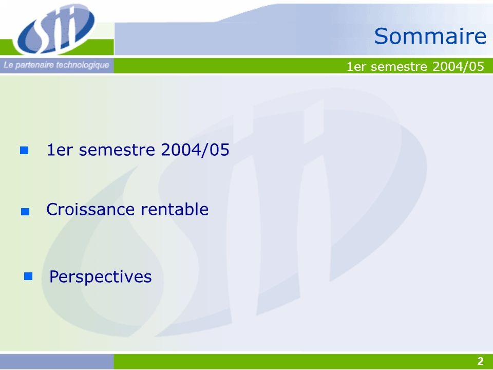 Sommaire 1er semestre 2004/05 Croissance rentable Perspectives 1er semestre 2004/05 2