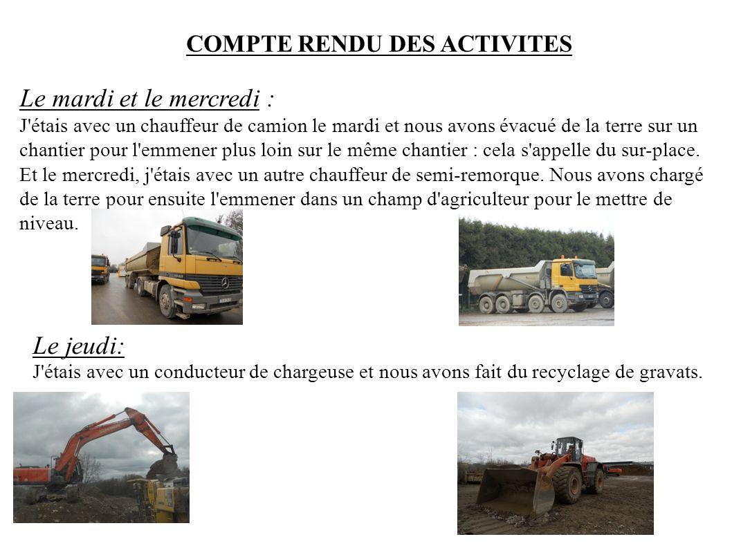 COMPTE RENDU DES ACTIVITES Le mardi et le mercredi : J'étais avec un chauffeur de camion le mardi et nous avons évacué de la terre sur un chantier pou
