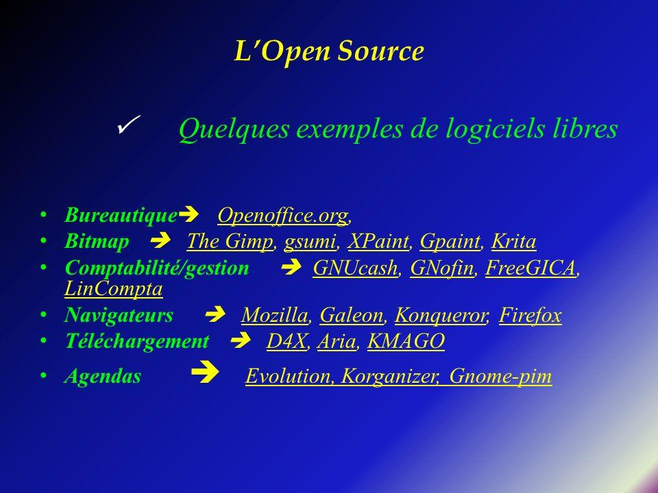 LOpen Source Quelques exemples de logiciels libres Bureautique Openoffice.org, Bitmap The Gimp, gsumi, XPaint, Gpaint, Krita Comptabilité/gestion GNUc