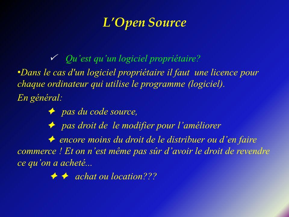 Quest quun logiciel propriétaire? Dans le cas d'un logiciel propriétaire il faut une licence pour chaque ordinateur qui utilise le programme (logiciel