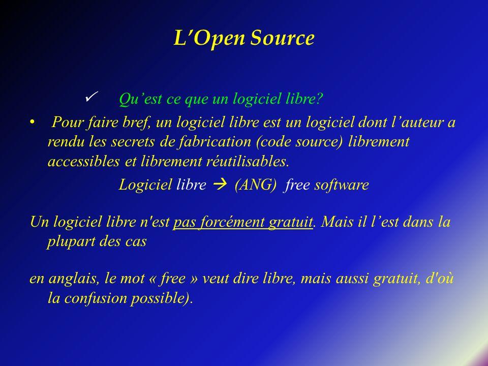 Quest ce que un logiciel libre? Pour faire bref, un logiciel libre est un logiciel dont lauteur a rendu les secrets de fabrication (code source) libre