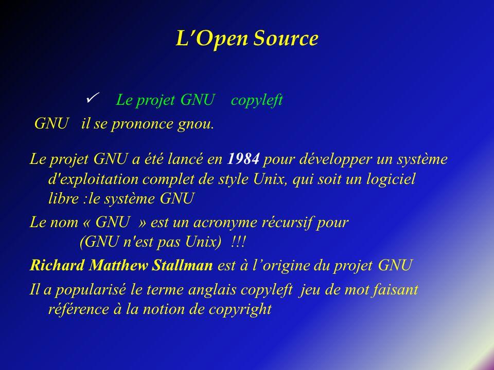 Le projet GNU copyleft GNU il se prononce gnou. Le projet GNU a été lancé en 1984 pour développer un système d'exploitation complet de style Unix, qui