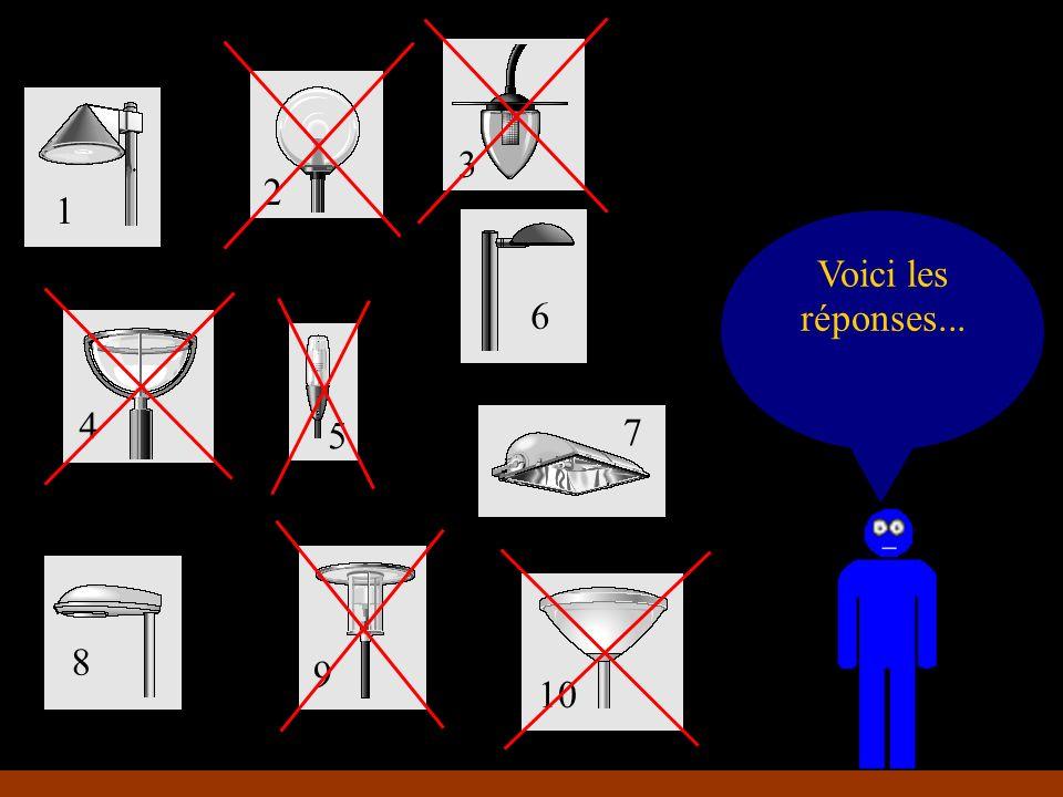 Petit jeu : éliminons les mauvais éclairages... 1 2 3 4 5 6 7 8 9 10 Voici les réponses...