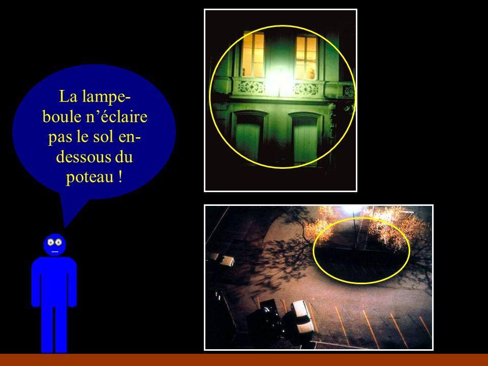 La lampe- boule éclaire mieux le mur que le sol La lampe- boule néclaire pas le sol en- dessous du poteau !