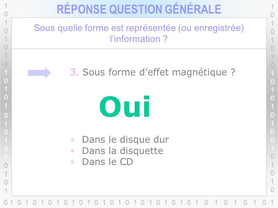 1010101010101010101010110101010101010101010101 RÉPONSE QUESTION GÉNÉRALE 1010101010101010010101010101010101010100101010 Sous quelle forme est représentée (ou enregistrée) linformation .