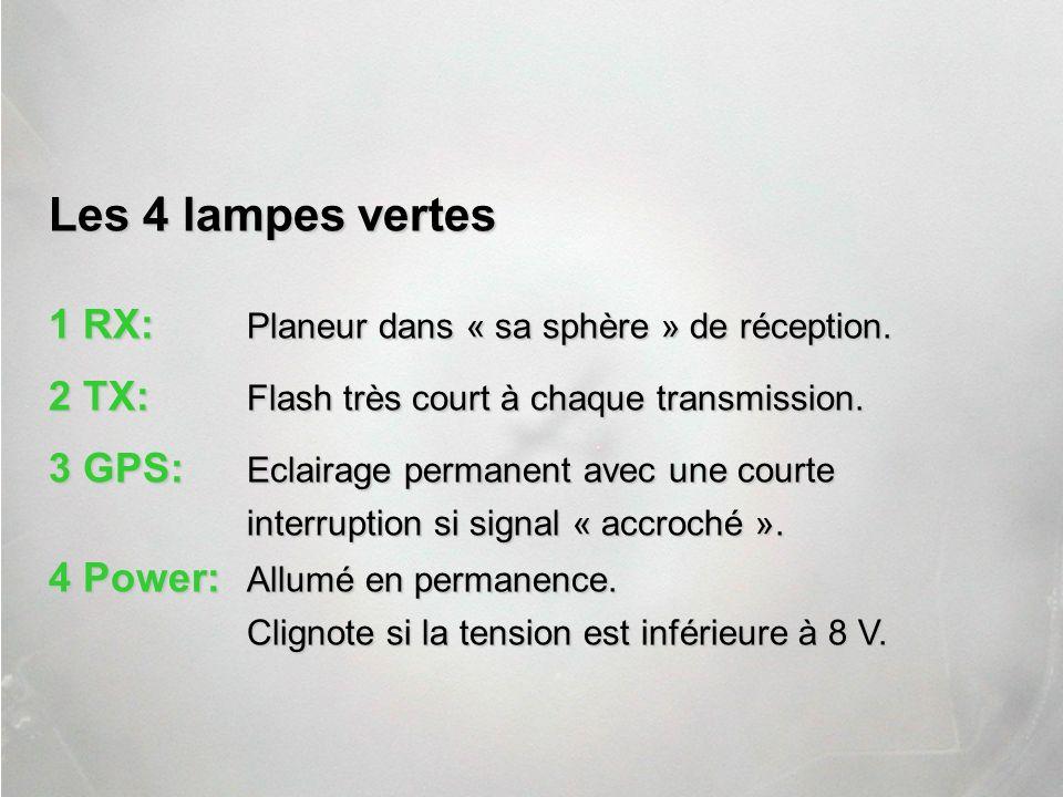 1 RX: Planeur dans « sa sphère » de réception. 2 TX: Flash très court à chaque transmission. 3 GPS: Eclairage permanent avec une courte interruption s