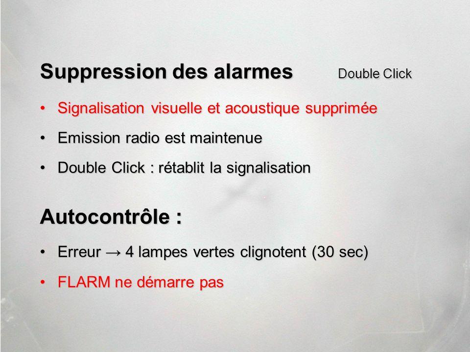 Suppression des alarmes Double Click Signalisation visuelle et acoustique suppriméeSignalisation visuelle et acoustique supprimée Emission radio est m