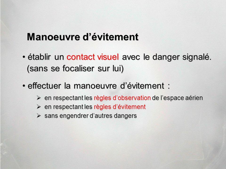 Manoeuvre dévitement établir un contact visuel avec le danger signalé. établir un contact visuel avec le danger signalé. (sans se focaliser sur lui) e