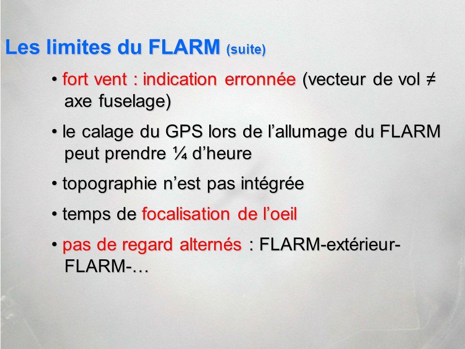 Les limites du FLARM (suite) fort vent : indication erronnée (vecteur de vol axe fuselage) fort vent : indication erronnée (vecteur de vol axe fuselag