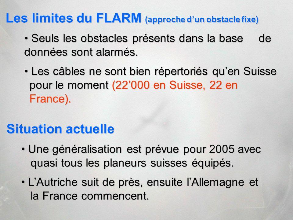 Les limites du FLARM (approche dun obstacle fixe) Les limites du FLARM (approche dun obstacle fixe) Seuls les obstacles présents dans la base de donné