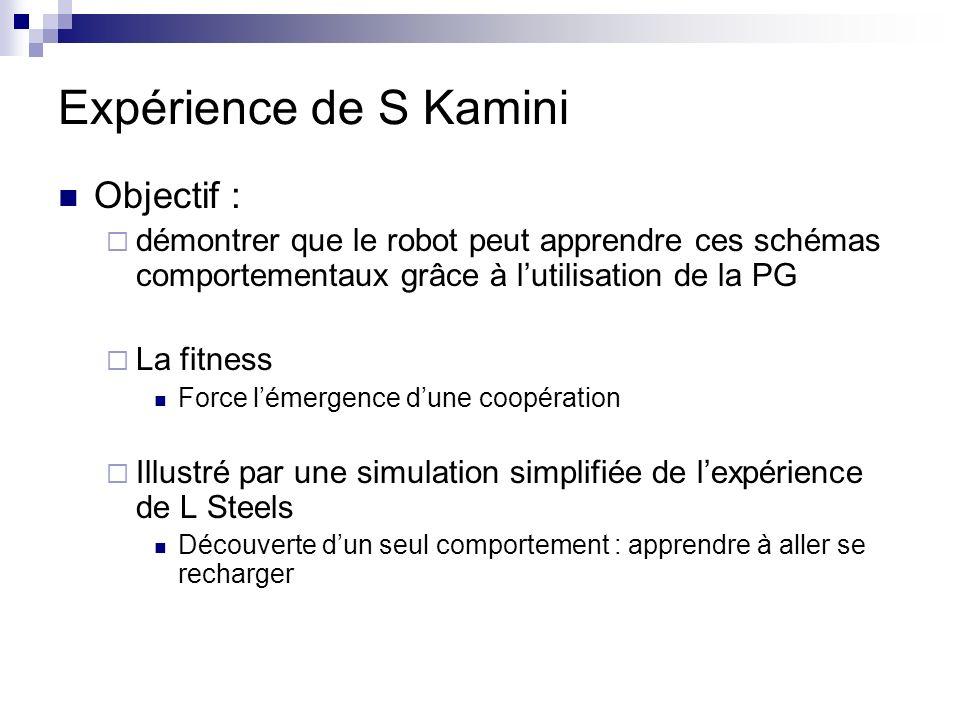 Simulation de lexpérience de Steels Environnement simulé Terrain 10x10 3 lampes : Capacité initiale: 12 unités, se charge de 2/cycle jusquà 120 se vide de 7 unités au contact dun robot 2 Robots Cap.