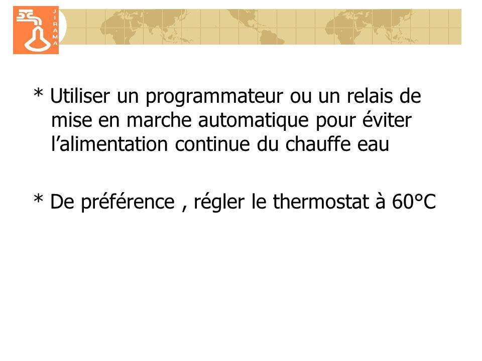* Utiliser un programmateur ou un relais de mise en marche automatique pour éviter lalimentation continue du chauffe eau * De préférence, régler le thermostat à 60°C