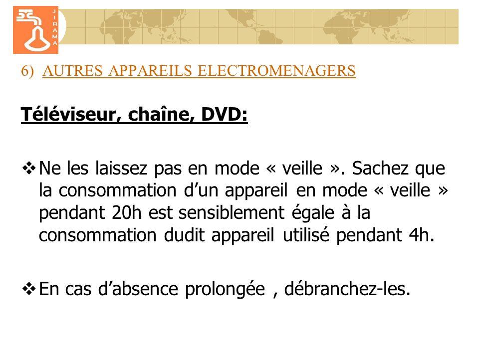 6) AUTRES APPAREILS ELECTROMENAGERS Téléviseur, chaîne, DVD: Ne les laissez pas en mode « veille ».