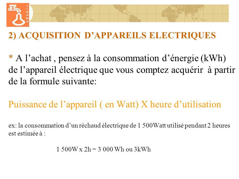 2) ACQUISITION DAPPAREILS ELECTRIQUES * A lachat, pensez à la consommation dénergie (kWh) de lappareil électrique que vous comptez acquérir à partir de la formule suivante: Puissance de lappareil ( en Watt) X heure dutilisation ex: la consommation dun réchaud électrique de 1 500Watt utilisé pendant 2 heures est estimée à : 1 500W x 2h = 3 000 Wh ou 3kWh