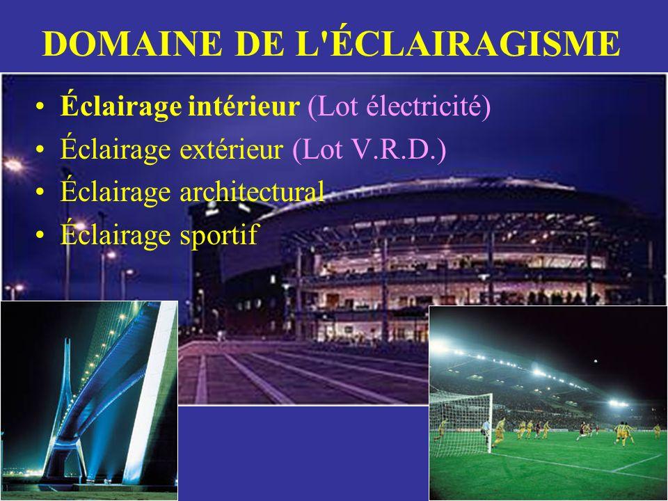 DOMAINE DE L'ÉCLAIRAGISME Éclairage intérieur (Lot électricité) Éclairage extérieur (Lot V.R.D.) Éclairage architectural Éclairage sportif