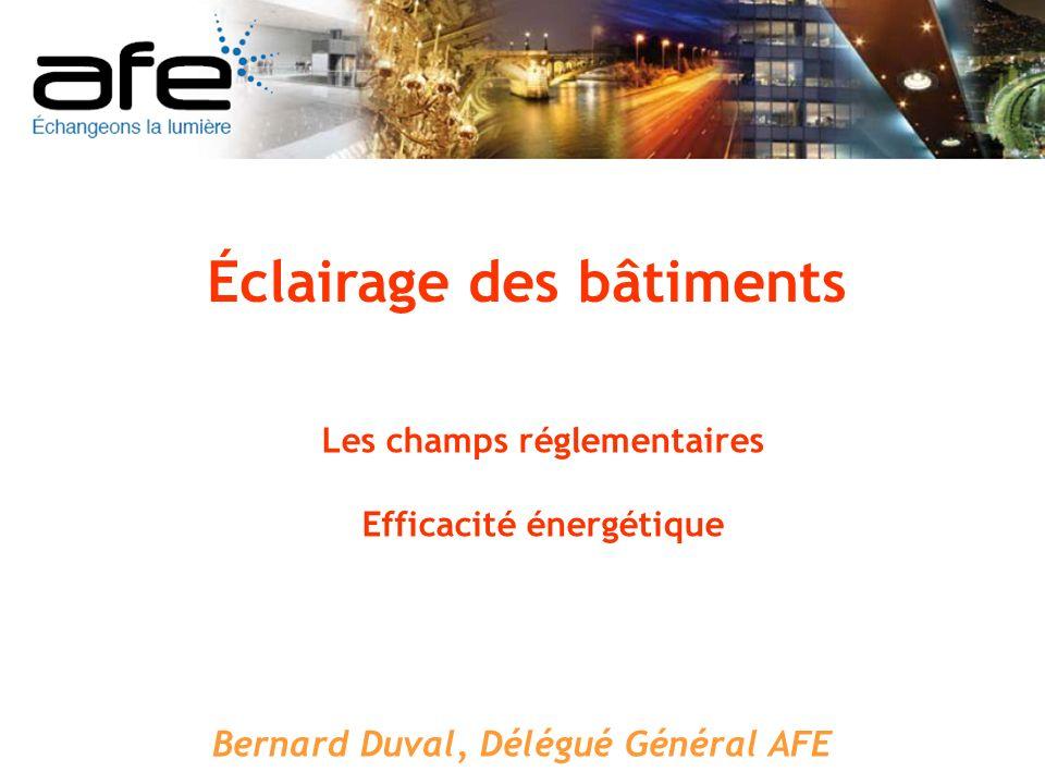 En France, le bâtiment, cest : 30 millions de logements 8OO millions de m² de bâtiments non résidentiels (200 millions bureaux) Un taux de rénovation de 1 % à 3 % par an Le bâtiment est le plus grand consommateur dénergie : 43 % des consommations 25 % des émissions de CO 2 Efficacité énergétique en éclairage Le contexte