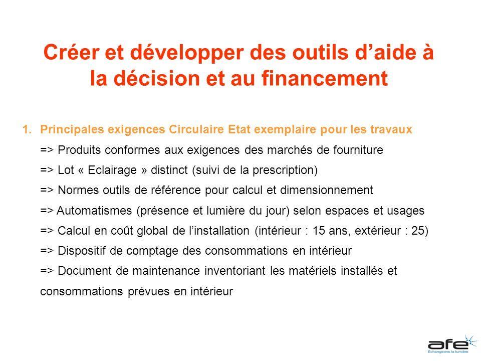 1.Principales exigences Circulaire Etat exemplaire pour les travaux => Produits conformes aux exigences des marchés de fourniture => Lot « Eclairage »