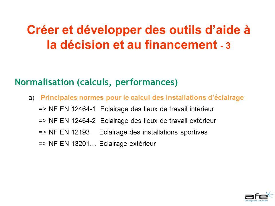 Normalisation (calculs, performances) a) Principales normes pour le calcul des installations déclairage => NF EN 12464-1 Eclairage des lieux de travai