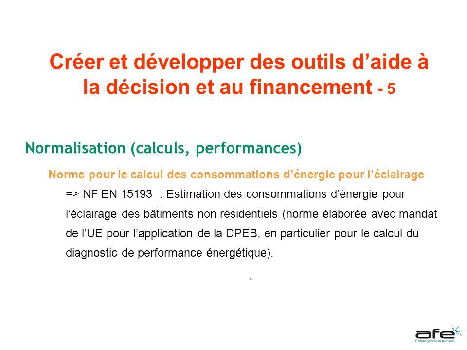 Normalisation (calculs, performances) Norme pour le calcul des consommations dénergie pour léclairage => NF EN 15193 : Estimation des consommations dé