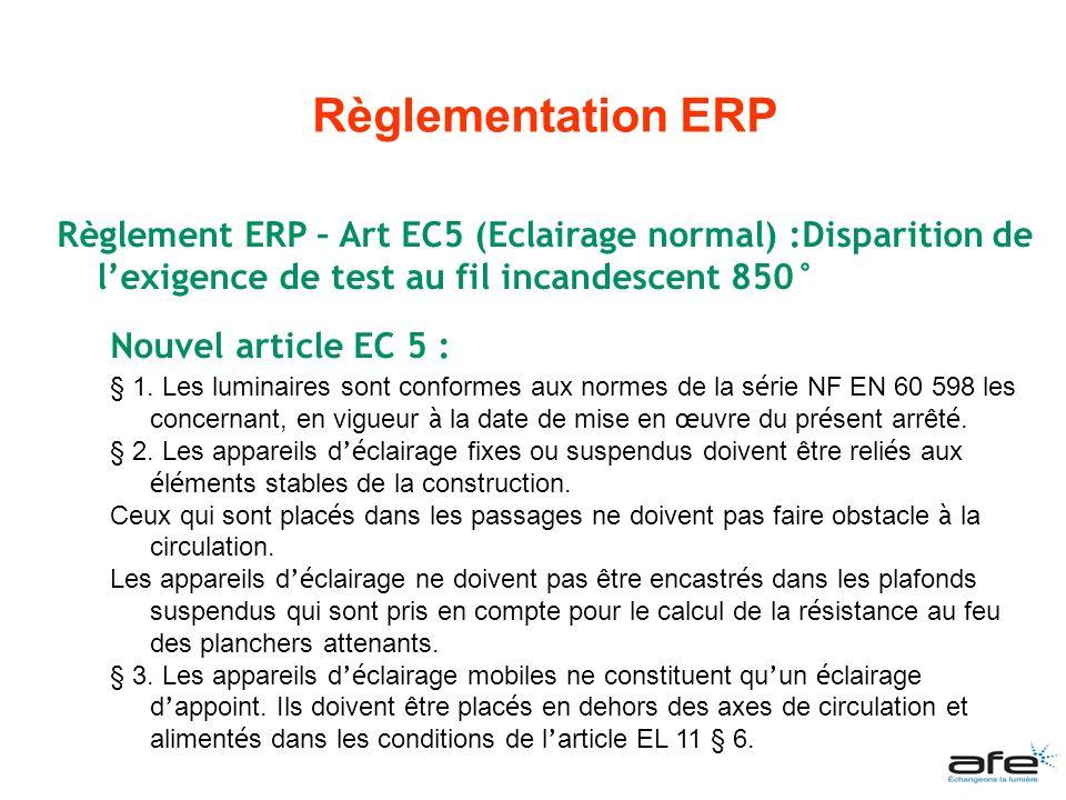 Règlement ERP – Art EC5 (Eclairage normal) :Disparition de lexigence de test au fil incandescent 850° Nouvel article EC 5 : § 1. Les luminaires sont c