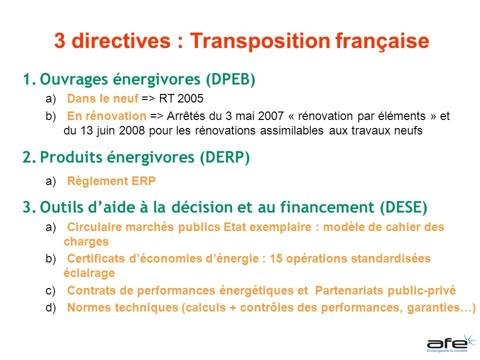1.Ouvrages énergivores (DPEB) a) Dans le neuf => RT 2005 b) En rénovation => Arrêtés du 3 mai 2007 « rénovation par éléments » et du 13 juin 2008 pour