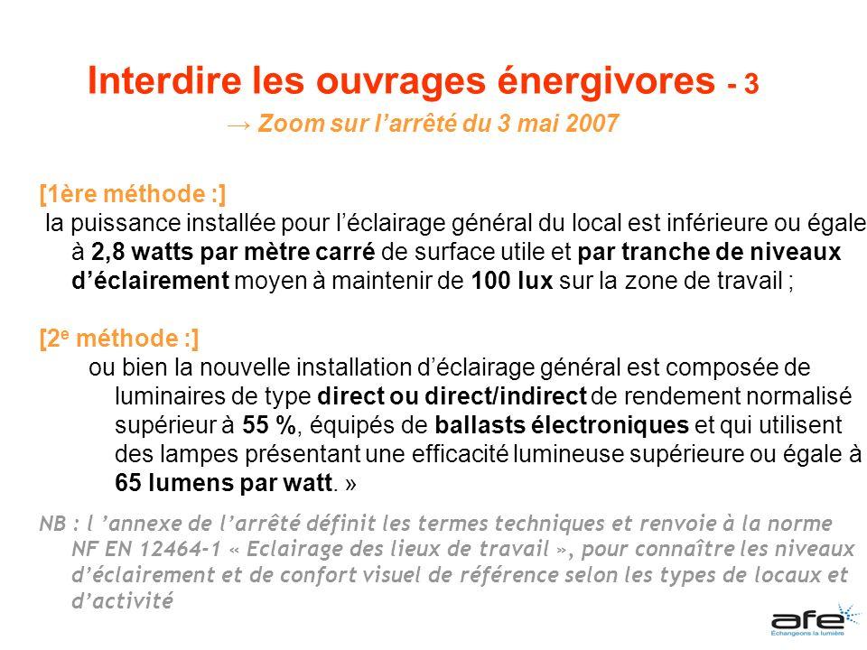 [1ère méthode :] la puissance installée pour léclairage général du local est inférieure ou égale à 2,8 watts par mètre carré de surface utile et par t